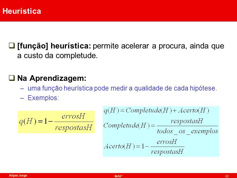 Heurística [função] heurística: permite acelerar a procura, ainda que a custo da completude. Na Aprendizagem: